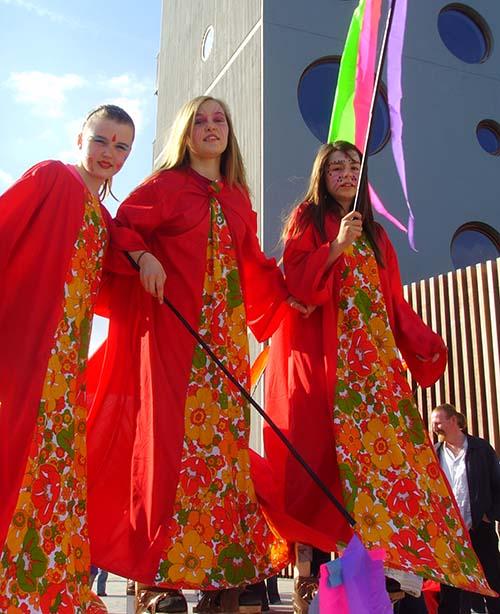 Children on stilts at festival in Eastwall, Dublin